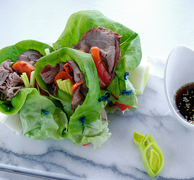 Roast-Beef-Lettuce-Wraps-Leek-Grilled-Red-Pepper-Sesame-Dipping-Sauce