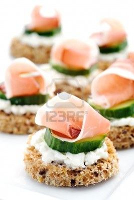 Mini Toasts with Cucumber & Ham