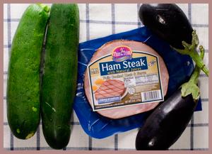 Ham-Stuffed Zucchini & Eggplants Main Ingredients
