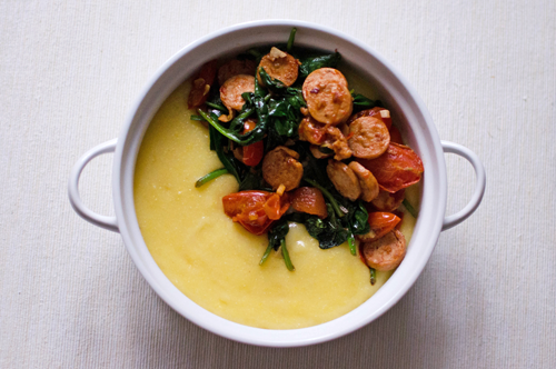 Polenta with Chicken Sausage Topping
