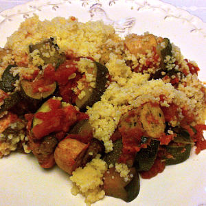 Zucchini, Eggplant, and Sausage Over Couscous